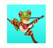 Tree Frog Playing Japanese Flag Guitar Art Print