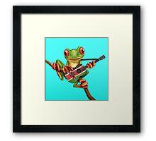 Tree Frog Playing Kenyan Flag Guitar Framed Print