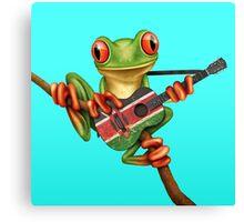 Tree Frog Playing Kenyan Flag Guitar Canvas Print
