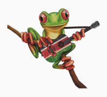 Tree Frog Playing Kenyan Flag Guitar Kids Tee