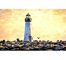 Sunset at Walton Lighthouse, Santa Cruz Photographic Print