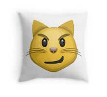 Cat Face With Wry Smile Apple / WhatsApp Emoji Throw Pillow