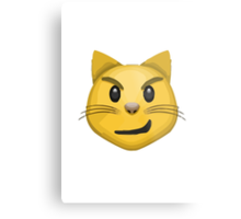Cat Face With Wry Smile Apple / WhatsApp Emoji Metal Print