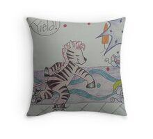 Zelda the Zebra on Rollerskates Throw Pillow
