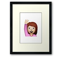 Happy Person Raising One Hand Apple / WhatsApp Emoji Framed Print