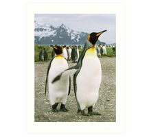 Pointing Penguin Art Print