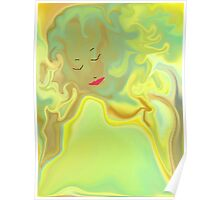 Wavy Hair And Painted Lips Poster