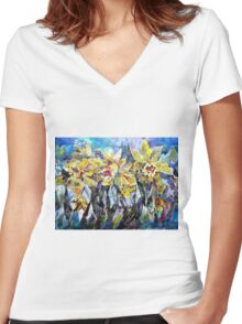 Daffodils - Flowers Art Gallery Women's Fitted V-Neck T-Shirt