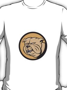 Bulldog Head Circle Cartoon T-Shirt