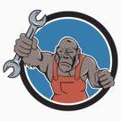Angry Gorilla Mechanic Spanner Circle Cartoon by patrimonio