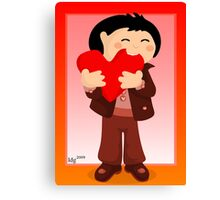 Nibbling Heart Boy Valentine Canvas Print