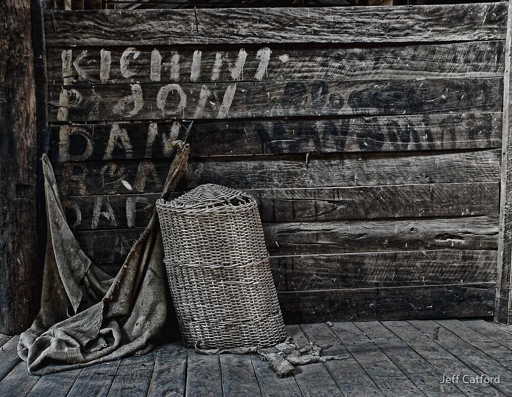 Weary Weavings - Hessian Bag & Cane Basket - Kinchega Woolshed - Kinchega NP by Jeff Catford