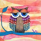 Tropicana Owl Acrylic Painting by Kristy Spring-Brown