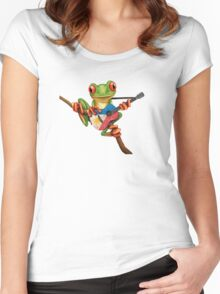 Tree Frog Playing Filipino Flag Guitar Women's Fitted Scoop T-Shirt
