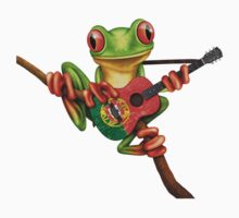 Tree Frog Playing Portuguese Flag Guitar Baby Tee