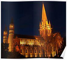 The Sacred Heart Cathedral, Bendigo at night Poster