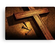 Jesus God Christianity Religion Crucifiction Nails Cross Canvas Print