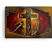 Jesus God Christianity Religion Crucifiction Nails and Cross Metal Print