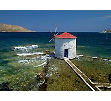 Floating windmill in the sea Photographic Print
