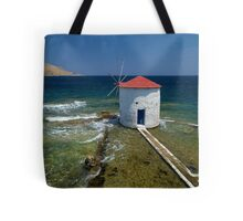 Floating windmill in the sea Tote Bag