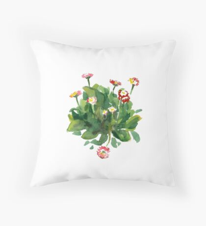 Daisy flowers. Watercolor. Throw Pillow
