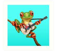 Tree Frog Playing South Korean Flag Guitar Art Print