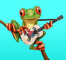 Tree Frog Playing South Korean Flag Guitar by Jeff Bartels