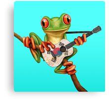Tree Frog Playing South Korean Flag Guitar Canvas Print
