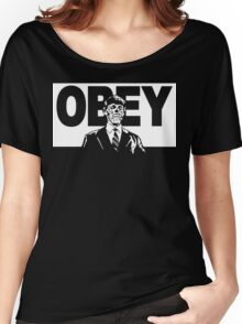 They Live Obey Rowdy Roddy Piper Cult Funny Geek Nerd Women's Relaxed Fit T-Shirt