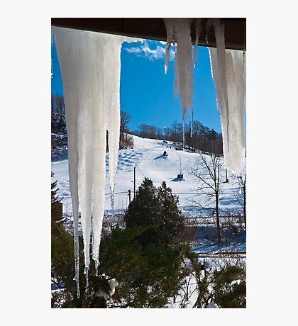 Ski Hill through Icicles, Milton, Ontario Photographic Print