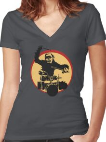 Gorilla Drummer Women's Fitted V-Neck T-Shirt