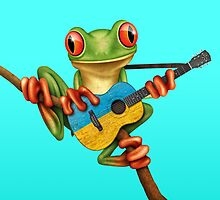 Tree Frog Playing Ukrainian Flag Guitar by Jeff Bartels