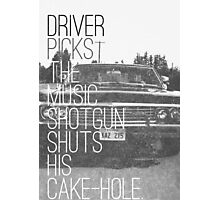 Driver picks the music... Photographic Print