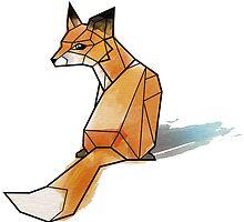 Geometric Watercolour Fox by Miss Megs
