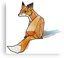 Geometric Watercolour Fox Metal Print