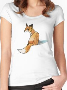 Geometric Watercolour Fox Women's Fitted Scoop T-Shirt