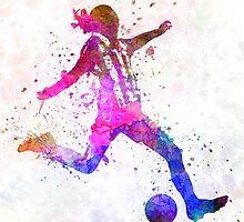 Girl playing soccer football player silhouette by paulrommer