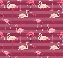 Flamingo Bird Retro Background by Anna Sivak