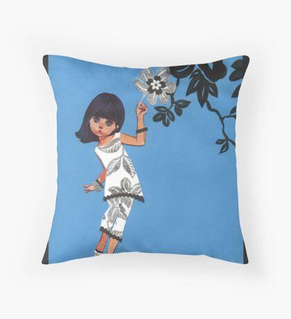 Silver Flower Mod Throw Pillow