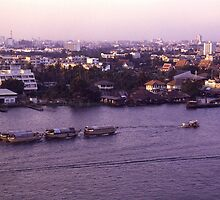 Towing barges in the Chao Phra Ya River, Bangkok by Peter Stephenson