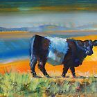 Belted Galloway Cow At The Beach by MikeJory