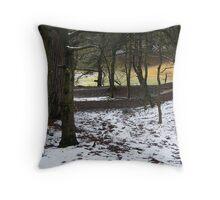 Oxshott Woods in the Snow Throw Pillow