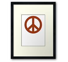 Brown Peace Sign Symbol Framed Print