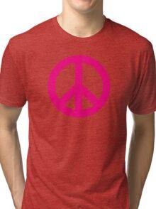 Magenta Peace Sign Symbol Tri-blend T-Shirt