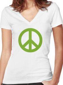 Green Peace Sign Symbol Women's Fitted V-Neck T-Shirt
