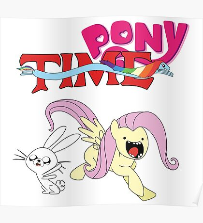 My Little Pony Adventure Time - Angel Bunny & Fluttershy Poster