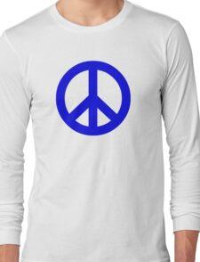 Dark Blue Peace Sign Symbol Long Sleeve T-Shirt