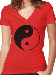 Asian Yin Yang Symbol Women's Fitted V-Neck T-Shirt