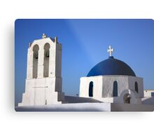 Chapels in Blue & White Metal Print