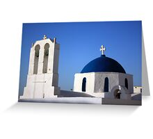 Chapels in Blue & White Greeting Card